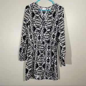 Parker Long Sleeve Silk Black And White Dress S